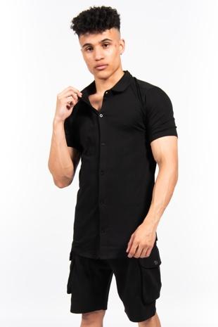 Black Short Sleeve Muscle Fit Jersey Shirt