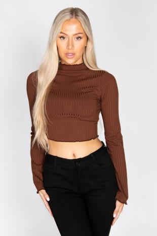Chocolate Ribbed Lettuce Trim Flare Sleeve Top