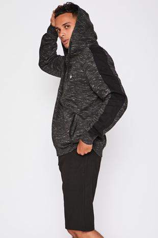 Black Space Dye Zip Through Hoody