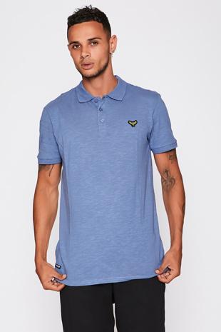 Denim Blue Cotton Short Sleeve Polo Shirt