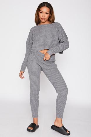 Grey Rib Knit Lounge Set