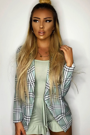 Sage Checked Blazer With Shoulder Pads