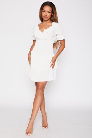 White Ruffle Neck Shirred Waist Tiered Dress