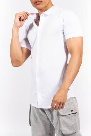 White Short Sleeve Muscle Fit Jersey Shirt
