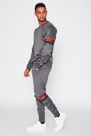 Grey Tracksuit with Red and Green Stripe Detail
