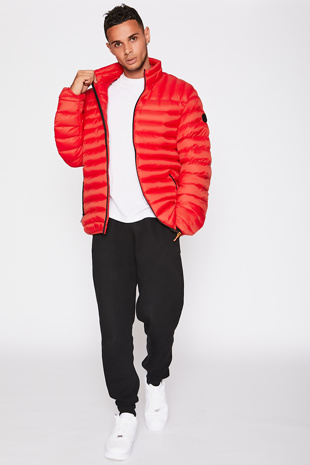Red Funnel Neck Jacket