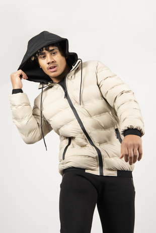 Mens Beige Hooded Puffer Coat