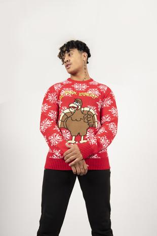 Mens Red Turkey Slogan Christmas Jumper