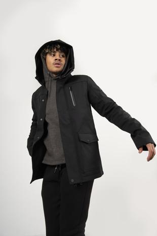 Mens Black Waterproof Hooded Jacket