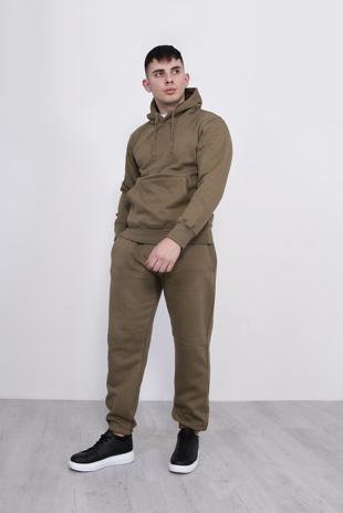 Mens Khaki Basic Pullover Hood Tracksuit