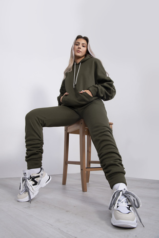Khaki Oversized Ruched Hoodie And Jogger Set