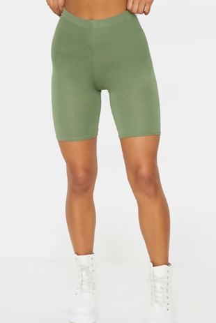 Khaki Basic High Waisted Cycle Shorts
