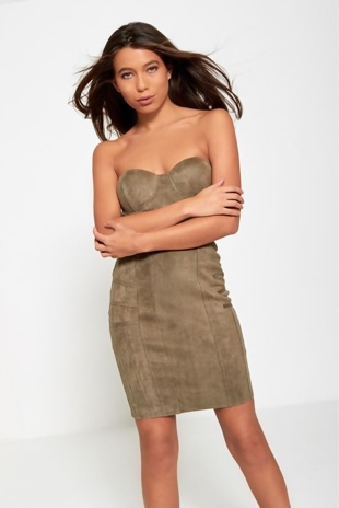 Khaki Faux Suede Mini Dress