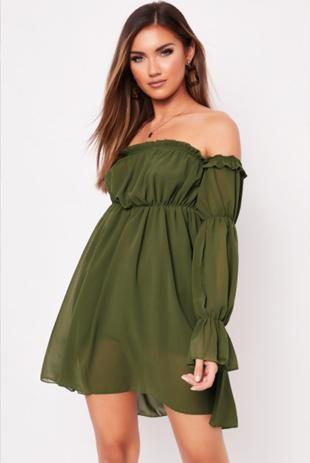Khaki Frill Bardot Dress