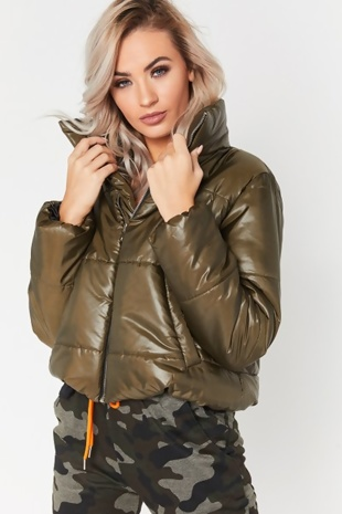 Khaki High Neck Cropped Puffer Jacket
