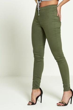 Khaki High Waisted Skinny Jeans