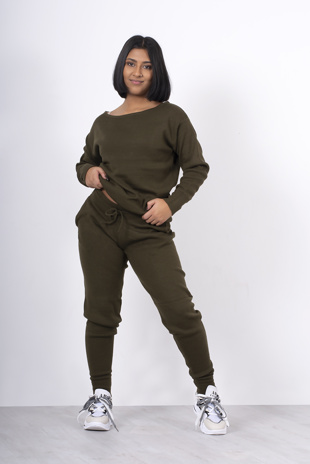 Khaki loungewear knitted joggers and jumper set