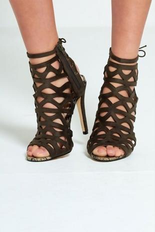 Khaki Lace Up Back Strappy Heels