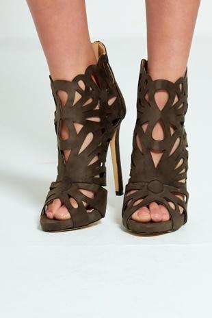 Khaki Laser-Cut Suede Zip Up High Heels