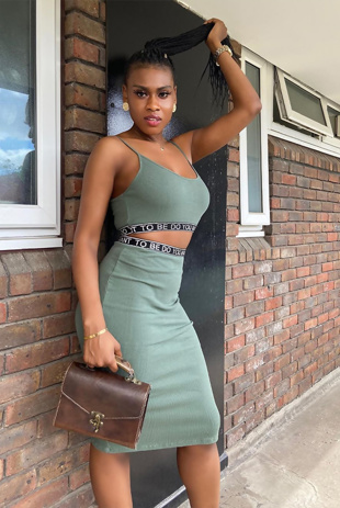 Khaki Logo Tape Ribbed Strappy Crop Top And Skirt Set