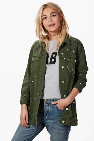 Khaki Long Line Print Splatter Denim Jacket