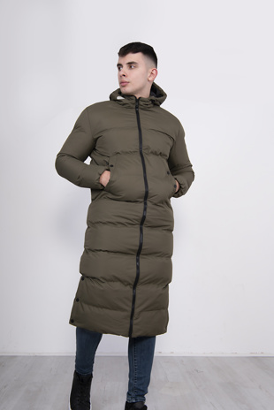 Mens Khaki Longline Hooded Puffer Coat