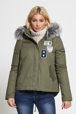 Khaki Patchwork Embroidery Military Style Parka