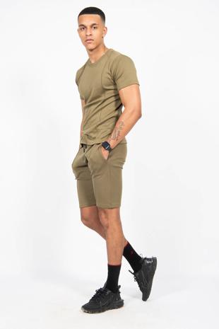 Mens Khaki Pintuck T-Shirt And Short Set