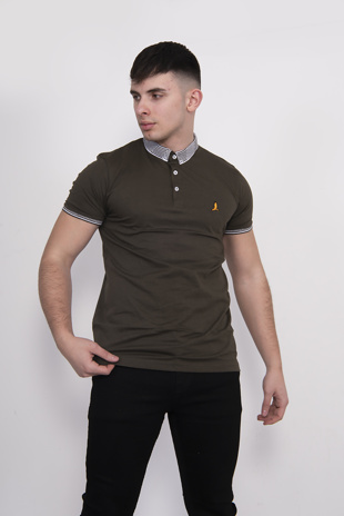 Mens Khaki Contrast Trim Short Sleve Polo Shirt