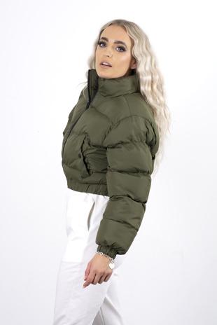 Khaki cropped pocket puffer coat