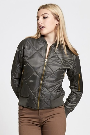 Khaki Quilted Bubble Bomber Jacket