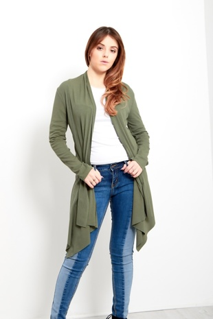 Khaki Ribbed Waterfall Cardigan