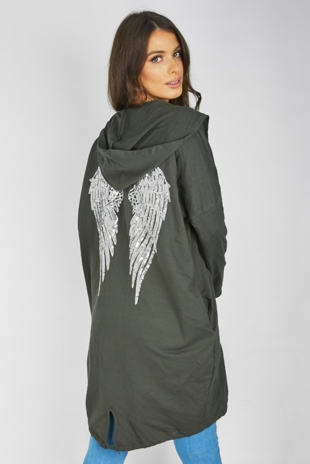 Khaki Sequin Angel Wings Hooded Cardigan