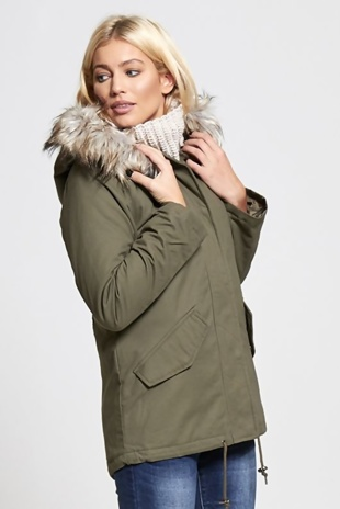 Khaki Sequinned Back Parka Coat