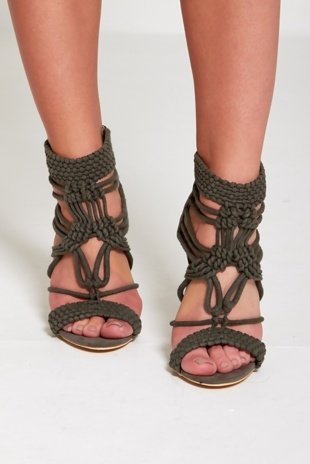 Khaki Woven Strappy Heels