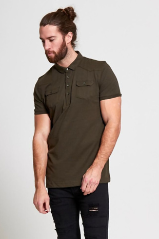 Mens Khaki Pocket Front Polo T-Shirt