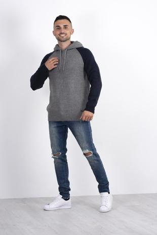 Mens grey knitted Contrast Sleeve hoodie