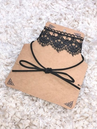 Lace Choker Ribbon Tie Double Layer Necklace