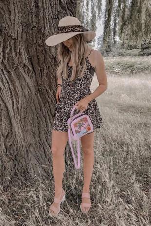 Leopard Print Lace Up Playsuit