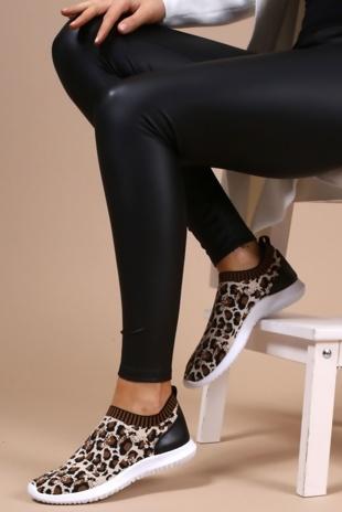 Leopard Skylar Runner Sock Trainer