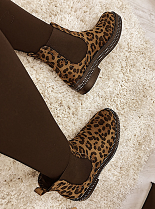 Leopard Suede Classic Chelsea Boot With Diamante Detail