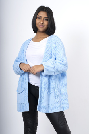 Light blue oversized pocket cardigan