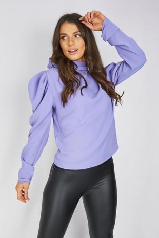 Lilac Tie Neck Puff Shoulder Blouse
