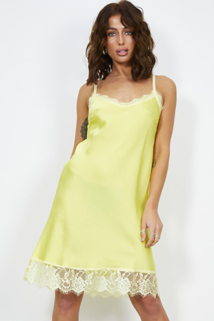 Lime Floral Lace Trim Cami Dress