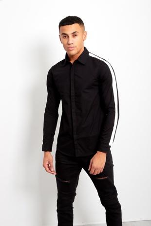 Black Mens Shoulder Stripe Concealed Placket Shirt