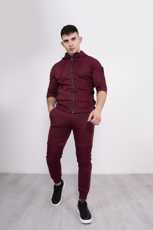 Mens Wine 3/4 Sleeve Ribbed Detail Tracksuit