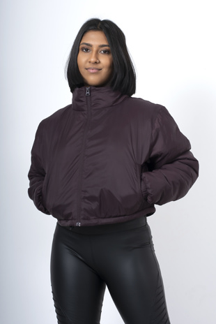 Burgundy cropped funnel neck jacket