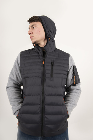 Mens Navy Contrast Detail Puffer Jacket
