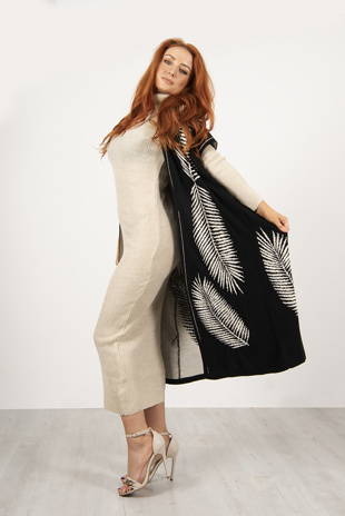 Beige And Black Maxi Cardigan And Knitted Dress Set