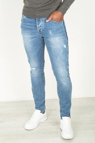 Mens Basic Blue Distressed Ripped Denim Jeans